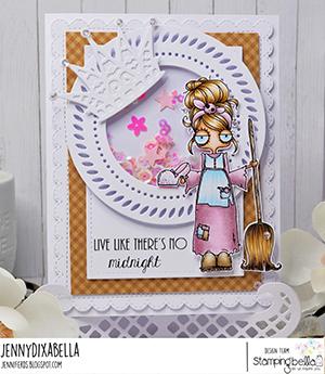 www.stampingbella.com: rubber stamp used: ODDBALL Cinderella . card by Jenny Dix