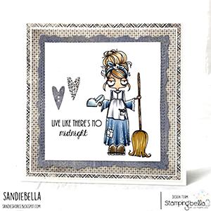 www.stampingbella.com: rubber stamp used: ODDBALL Cinderella . card by Sandie Dunne