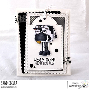 www.stampingbella.com: rubber stamp used: ODDBALL FARM ANIMALS set and card by Sandie Dunne