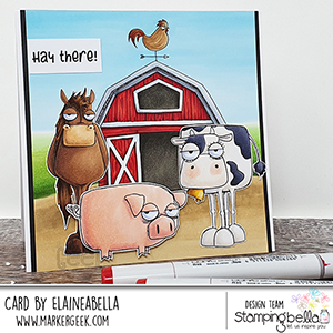 www.stampingbella.com: rubber stamp used: ODDBALL FARM ANIMALS set and card by Elaine Hughes