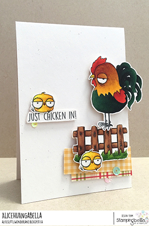 www.stampingbella.com: rubber stamp used: ODDBALL FARM BIRDS E set and card by Alice Huang