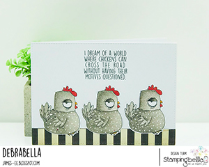 www.stampingbella.com: rubber stamp used: ODDBALL FARM BIRDS E set and card by Debra James