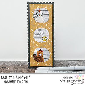 www.stampingbella.com: rubber stamp used: ODDBALL FARM BIRDS E set and card by Elaine Hughes