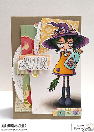 www.stampingbella.com: rubber stamp used: SMUDGE AND CRYSTAL ODDBALL. Card by Alice Huang