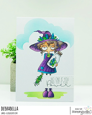 www.stampingbella.com: rubber stamp used: SMUDGE AND CRYSTAL ODDBALL. Card by Debra James