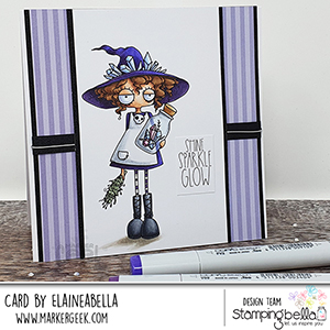 www.stampingbella.com: rubber stamp used: SMUDGE AND CRYSTAL ODDBALL. Card by Elaine Hughes