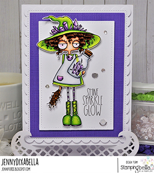 www.stampingbella.com: rubber stamp used: SMUDGE AND CRYSTAL ODDBALL. Card by Jenny Dix
