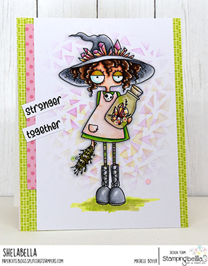 www.stampingbella.com: rubber stamp used: SMUDGE AND CRYSTAL ODDBALL. Card by Michele Boyer