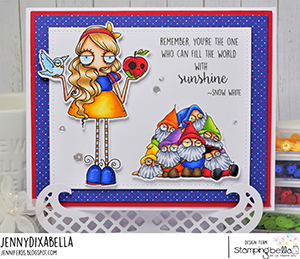 www.stampingbella.com: rubber stamp used: ODDBALL Snow White . card by Jenny Dix