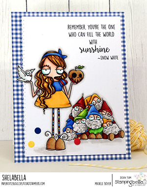 www.stampingbella.com: rubber stamp used: ODDBALL Snow White . card by Michele Boyer