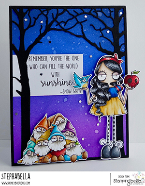 www.stampingbella.com: rubber stamp used: ODDBALL Snow White . card by Stephanie Hill