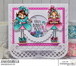 www.stampingbella.com: rubber stamp used: ODDBALL STEPSISTERS. card by Jenny Dix