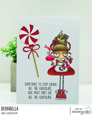 www.stampingbella.com: rubber stamp used: ODDBALL with a SWEET TOOTH. card by Debra James