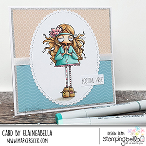 www.stampingbella.com: rubber stamp used: ODDBALL HIPPIE. Card by Elaine Hughes