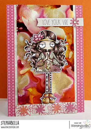 www.stampingbella.com: rubber stamp used: ODDBALL HIPPIE. Card by Stephanie Hill