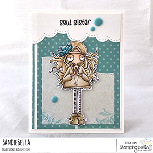 www.stampingbella.com: rubber stamp used: ODDBALL HIPPIE. Card by Sandie Dunne