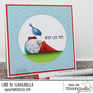 www.stampingbella.com: rubber stamp used: the gnome and the Birdie CARD BY Elaine Hughes