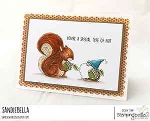 www.stampingbella.com: rubber stamp used: the gnome and the squirrel. card by Sandie Dunne