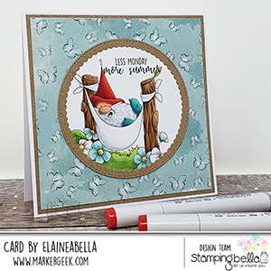 www.stampingbella.com: rubber stamp used: the gnome in the HAMMOCK card by Elaine Hughes