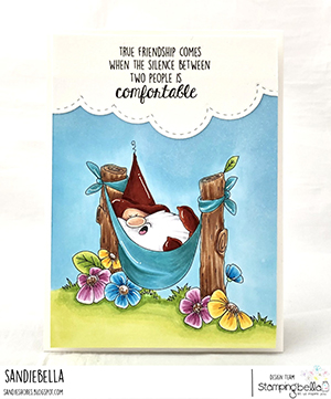 www.stampingbella.com: rubber stamp used: the gnome in the HAMMOCK card by Sandie Dunne