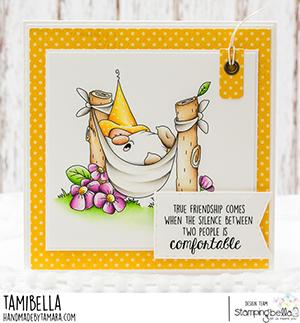 www.stampingbella.com: rubber stamp used: the gnome in the HAMMOCK card by Tamara Potocnik
