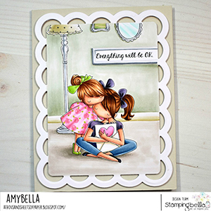 www.stampingbella.com: rubber stamp used: THERE THERE TINY TOWNIE. card by Amy Young