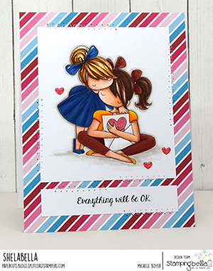 www.stampingbella.com: rubber stamp used: THERE THERE TINY TOWNIE. card by Michele Boyer