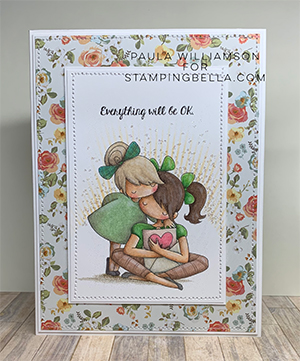 www.stampingbella.com: rubber stamp used: THERE THERE TINY TOWNIE. card by Paula Williamson