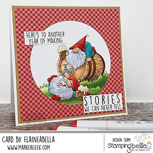 www.stampingbella.com: rubber stamp used: two gnomes and a keg card by Elaine Hughes