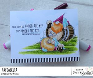 www.stampingbella.com: rubber stamp used: two gnomes and a keg card by faye wynn jones