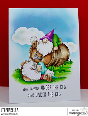 www.stampingbella.com: rubber stamp used: two gnomes and a keg card by Stephanie Hill