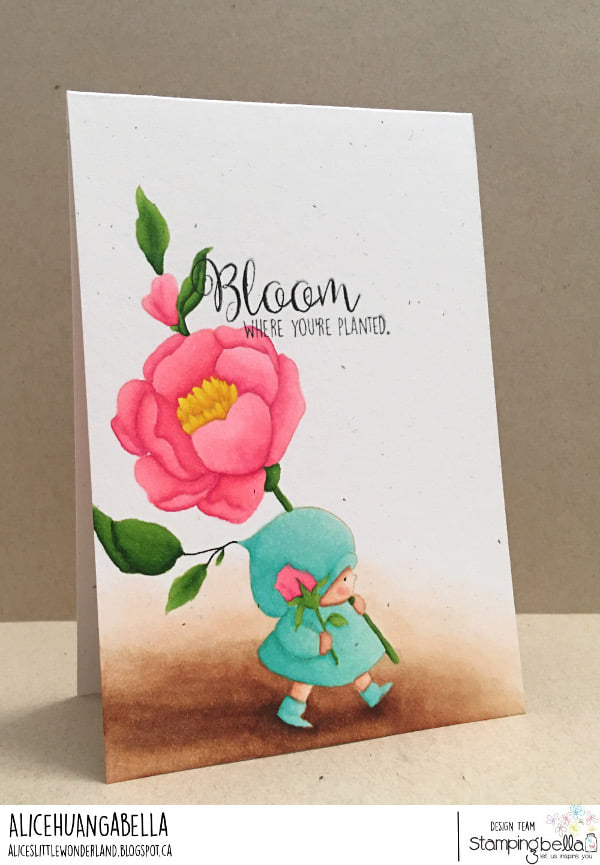 www.stampingbella.com: rubber stamp used BUNDLE GIRL with a ROSE card by ALICE HUANG