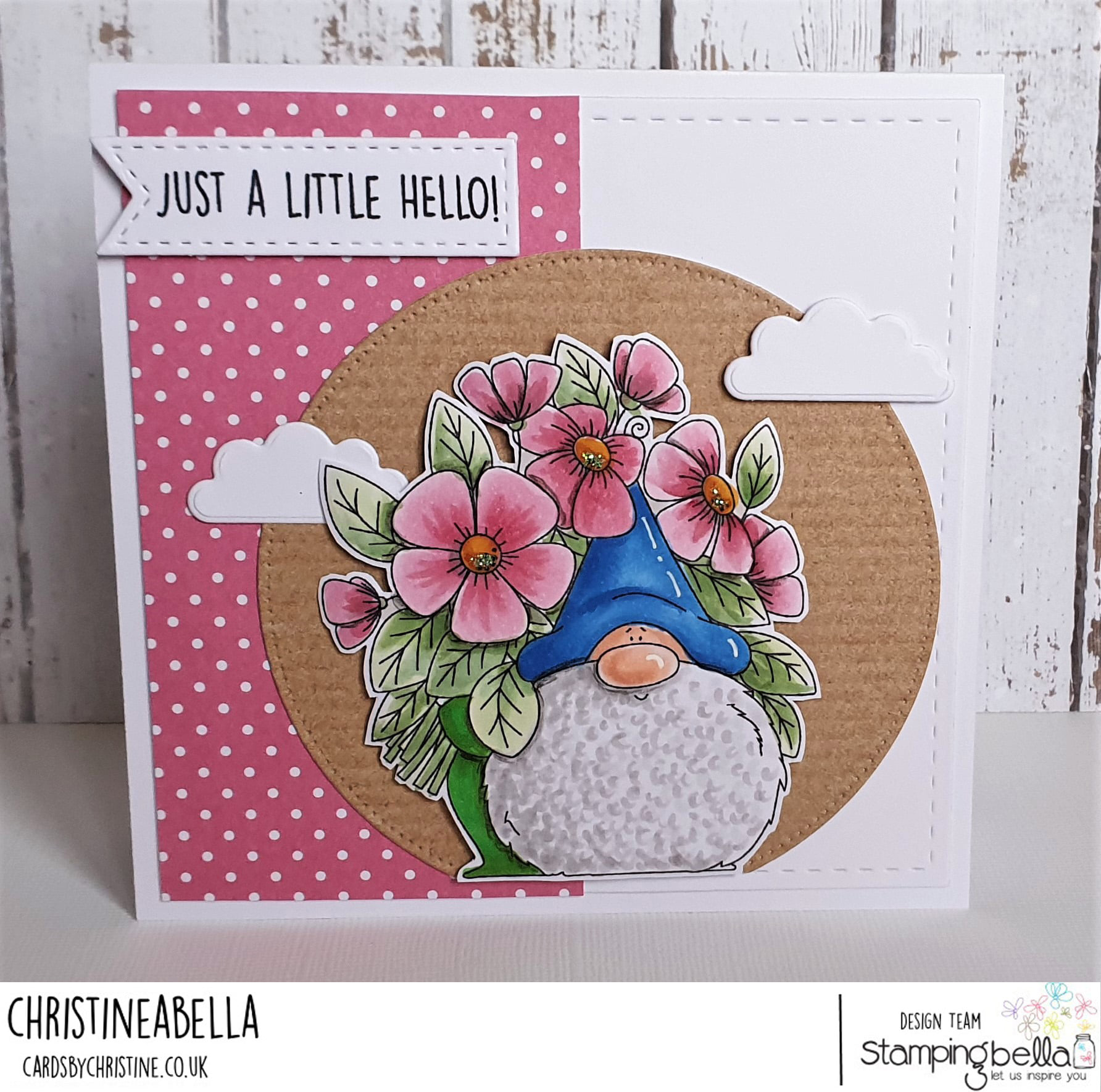 www.stampingbella.com/ rubber stamp used: FLOWERY GNOME. card by Christine Levison