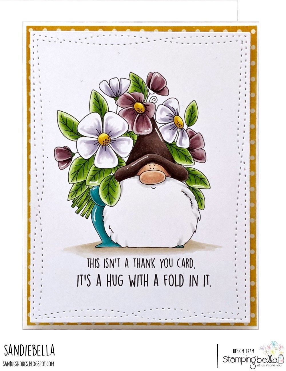 www.stampingbella.com/ rubber stamp used: FLOWERY GNOME. card by Sandie Dunne