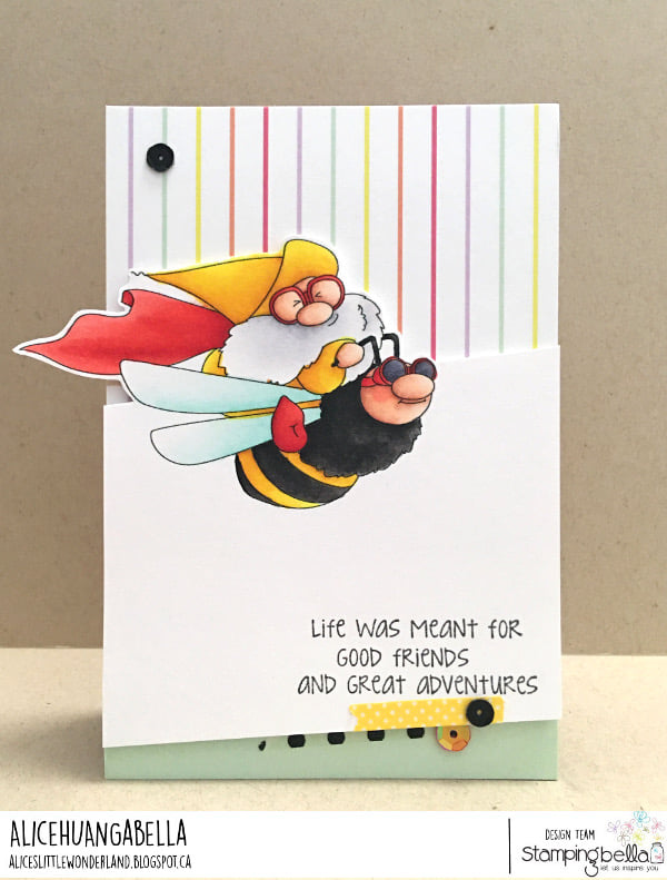 www.stampingbella.com: rubber stamp used FLYING GNOME. Card by ALICE HUANG