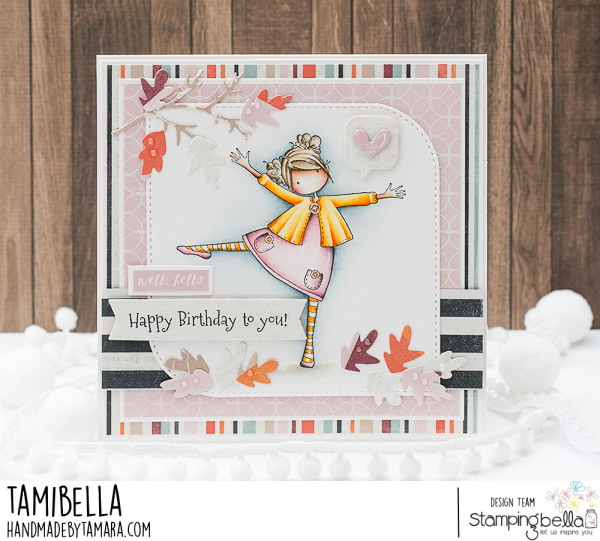 www.stampingbella.com  Rubber stamp used TINY TOWNIE LAYLA LOVES LEAVES. card by Tami Potocnik