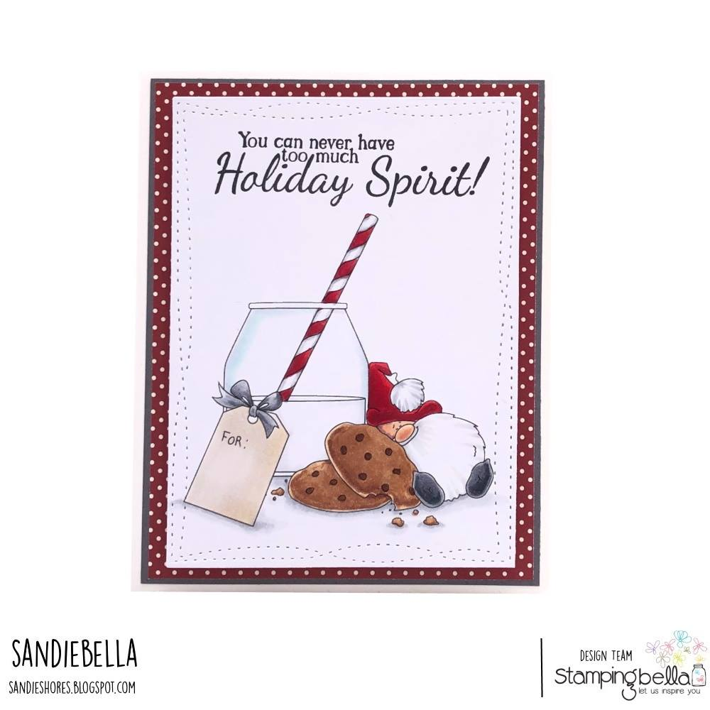 www.stampingbella.com: rubber stamp used MILK AND COOKIES card by SANDIE DUNNE