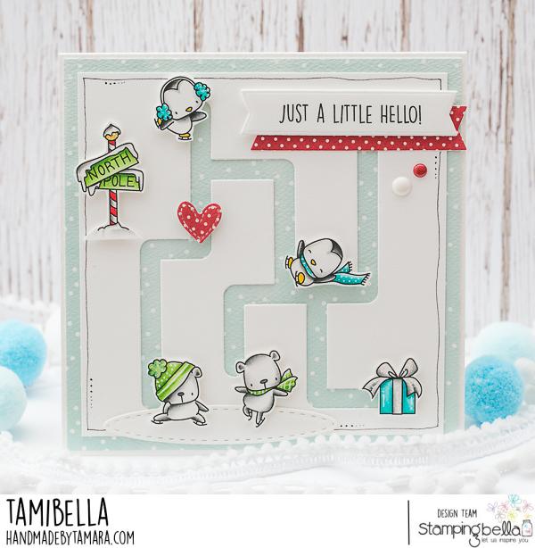 www.stampingbella.com: rubber stamps used: SKATING QUARTET card by Tamara Potocnik