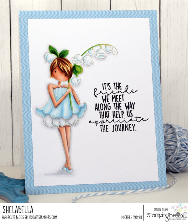 www.stampingbella.com: rubber stamp used - TINY TOWNIE GARDEN GIRL LILY OF THE VALLEY.  card by michele boyer