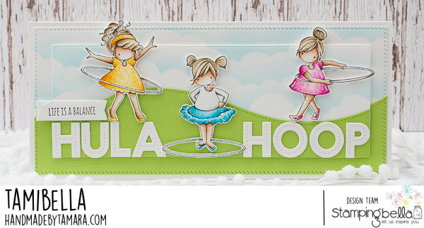 www.stampingbella.com: rubber stamp used: TINY TOWNIE HULA HOOPERS card by Tammy Potocnik