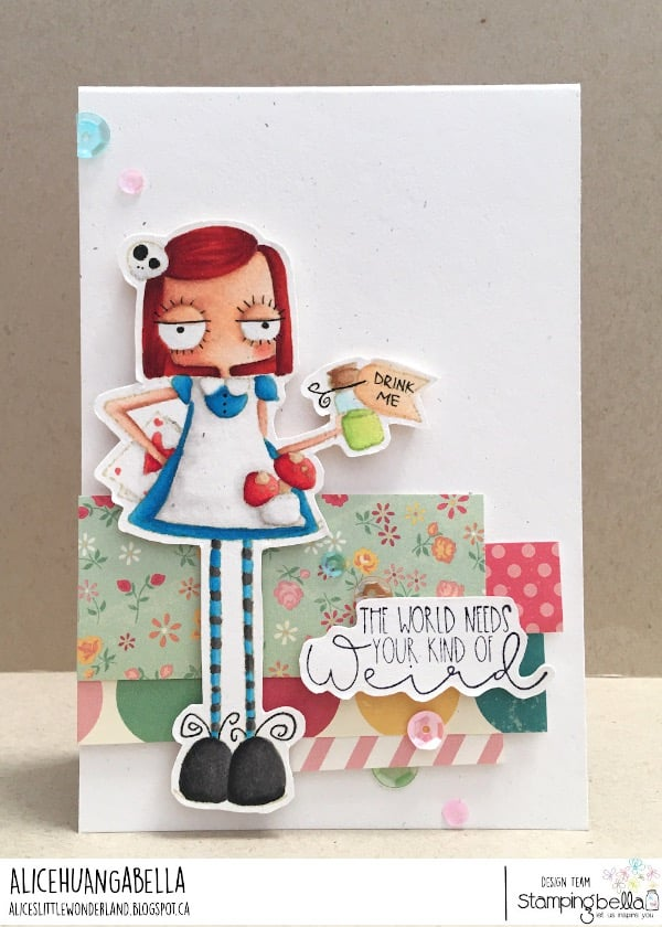 www.stampingbella.com: rubber stamp used : ODDBALL ALICE IN WONDERLAND card by ALICE HUANG
