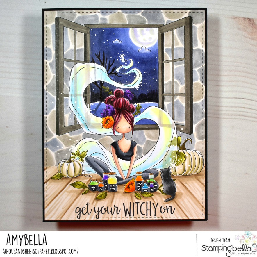 www.stampingbella.com: rubber stamps used CURVY GIRL LOVES ESSENTIAL OILS. card by Amy Young