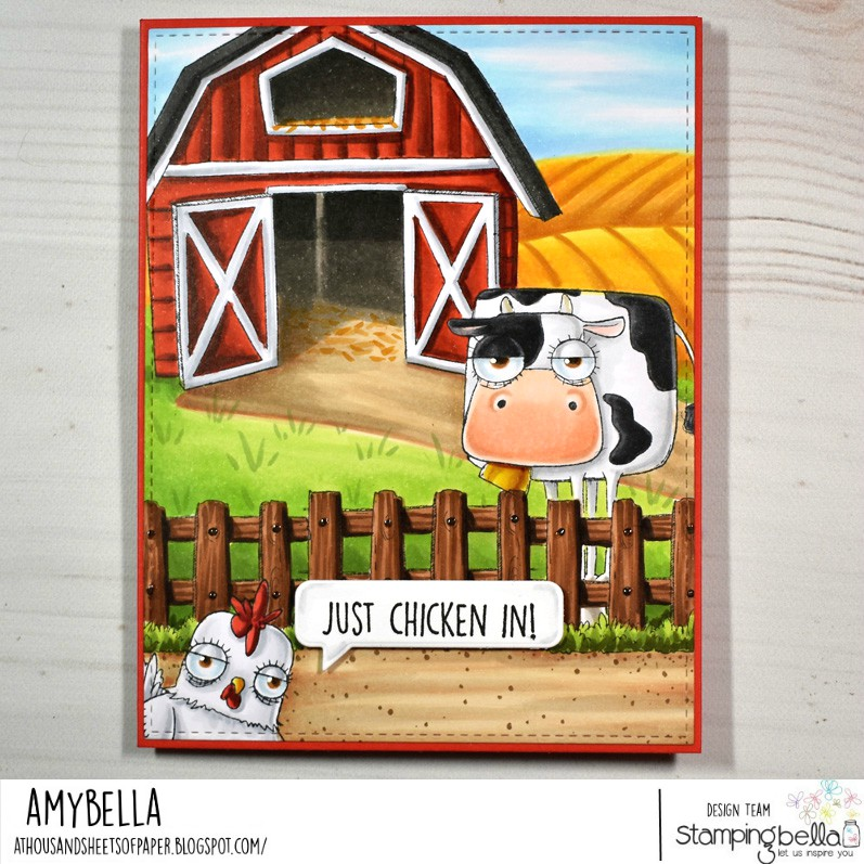www.stampingbella.com: rubber stamps used: oddball farm animals set, oddball farm birds set, oddball barn, fence and hay set. Card by Amy Young