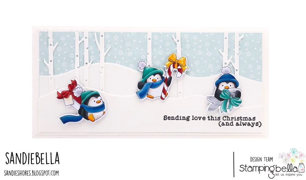 www.stampingbella.com: rubber stamp used PENGUINS BEARING GIFTS card by Sandie Dunne