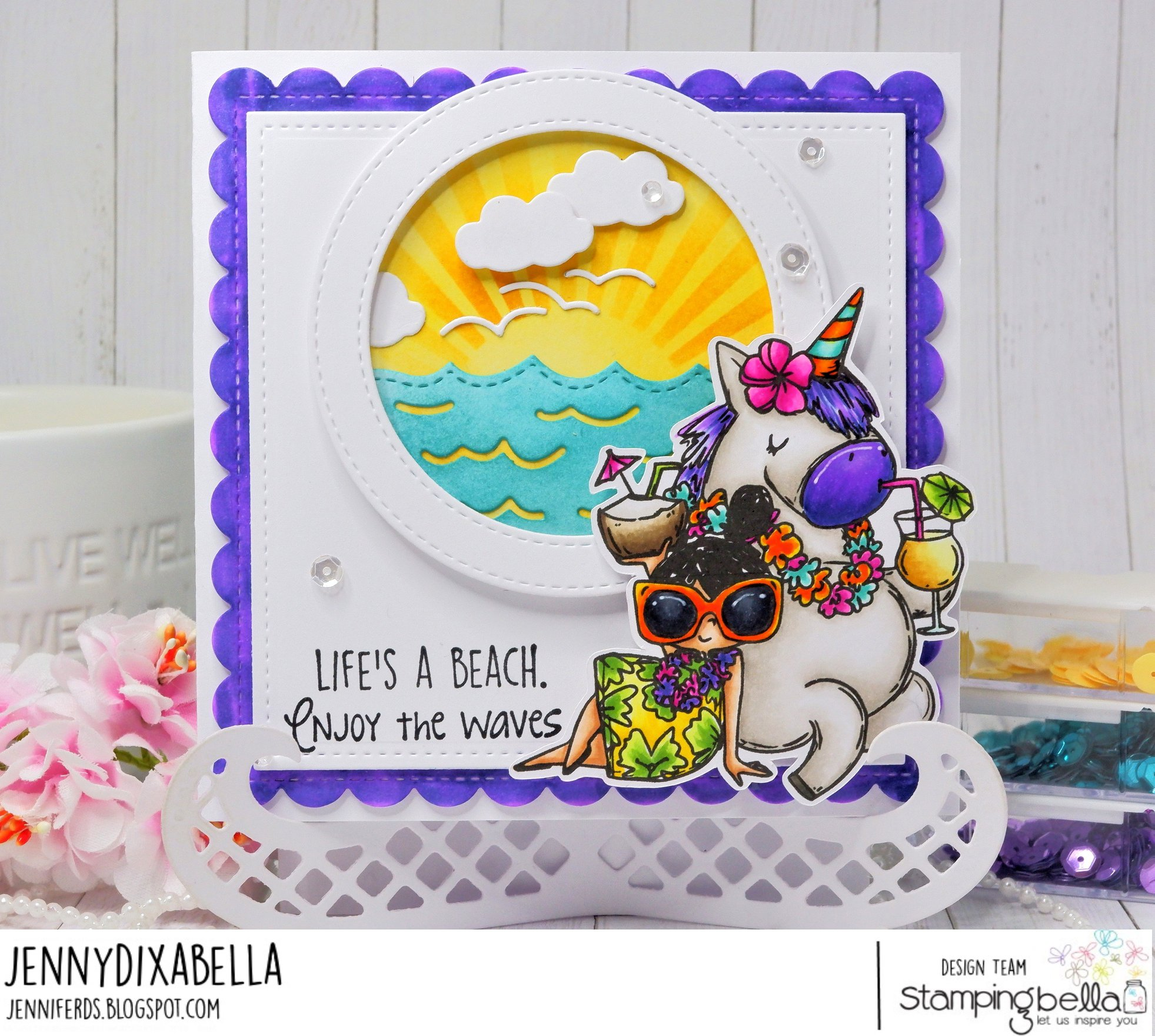 www.stampingbella.com: rubber stamp used ROSIE AND BERNIE IN HAWAII, card by Jenny Dix