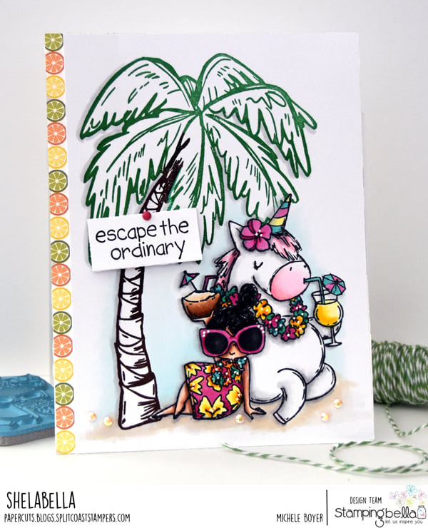 www.stampingbella.com: rubber stamp used ROSIE AND BERNIE IN HAWAII, card by Michele Boyer