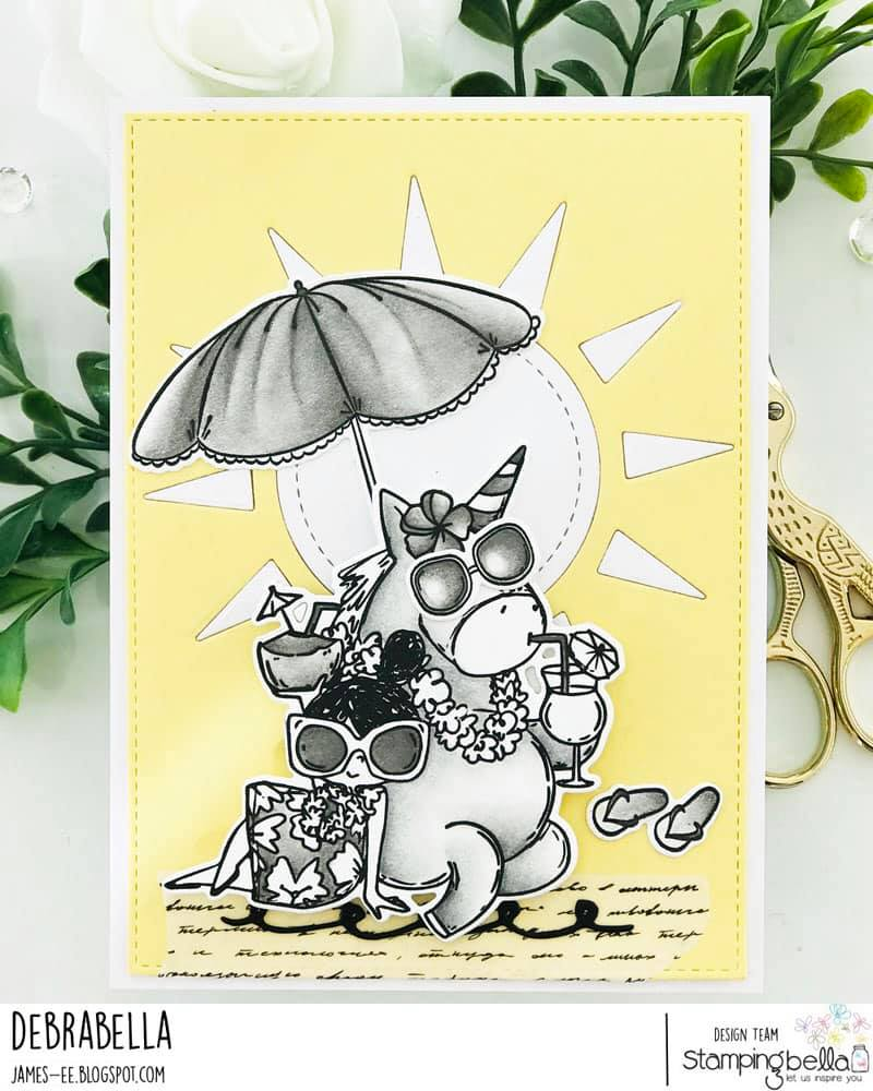 www.stampingbella.com: rubber stamp used ROSIE AND BERNIE IN HAWAII, card by Debra James