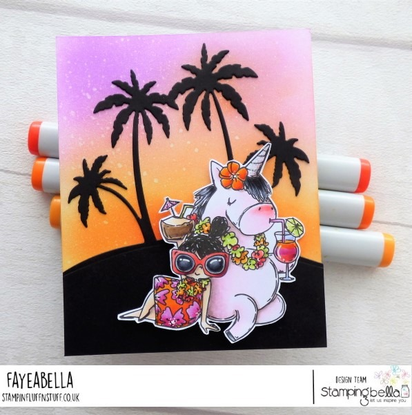 www.stampingbella.com: rubber stamp used ROSIE AND BERNIE IN HAWAII, card by Faye Wynn Jones