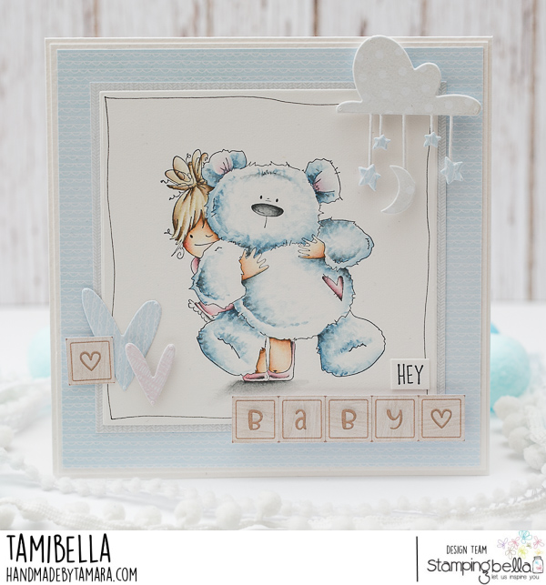 www.stampingbella.com: rubber stamp used: SQUIDGY AND TEDDY.  CARD BY Tamara Potocnik