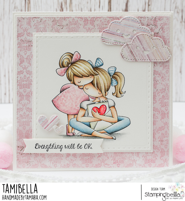 www.stampingbella.com: rubber stamp used: THERE THERE TINY TOWNIE. card by Tamara Potocnik